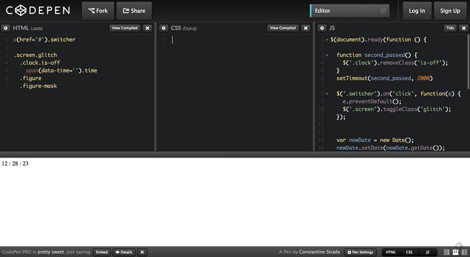 codepen - css removed
