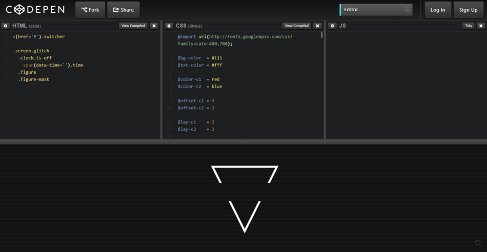 codepen - js removed